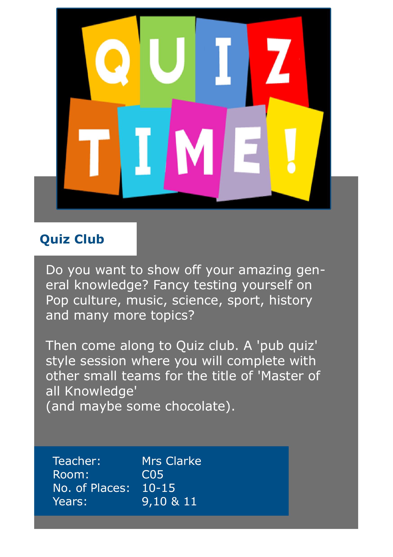 Quiz Club David Nieper Academy