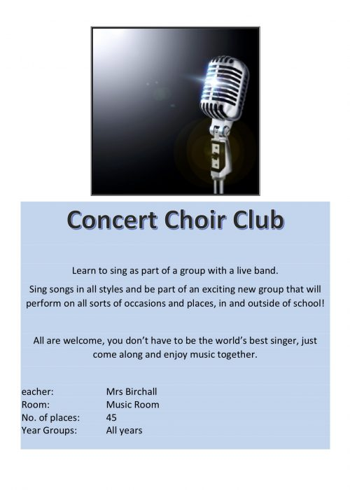 Concert Choir Club 2018
