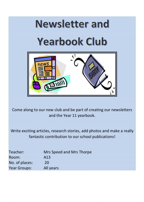 Newsletter Yearbook Club 2018
